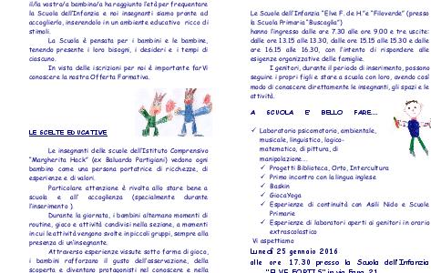 """Il 25 gennaio Open Day alle scuole dell'Infanzia """"Elve"""" e """"Filo Verde"""" di Novara"""