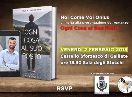 """""""Ogni Cosa al Suo Posto"""", presentazione del romanzo a Galliate il 2 febbraio"""