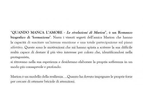"""""""Quando l'amore manca – Le rivelazioni di Marion"""", il romanzo sulla resilienza di Federica Maria Onganìa"""