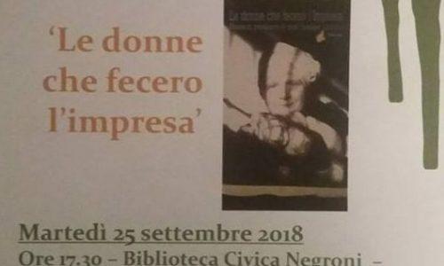 """Martedi' alla Biblioteca di Novara, presentazione del libro """"Le donne che fecero l'impresa"""""""