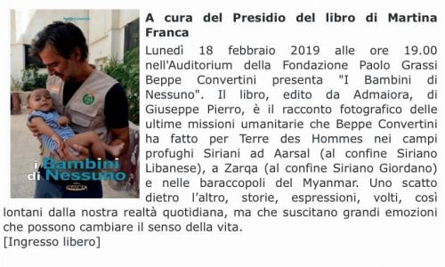 """Lunedì a Martina Franca presentazione del libro """"I bambini di nessuno"""" di Beppe Convertini"""
