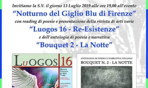 """Il 13 luglio """"Notturno del Giglio Blu di Firenze"""", con lo scrittore Leonardo Manetti"""