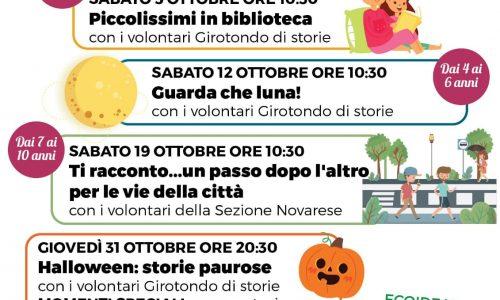 Appuntamenti di ottobre alla Biblioteca Ragazzi di Novara