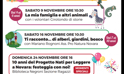 Appuntamenti di Novembre alla Biblioteca ragazzi di Novara