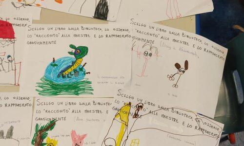 """I bambini di 5 anni """"leggono"""" i libri della biblioteca scolastica . Come? Con un po' di fantasia, osservazione ed esplorazione"""